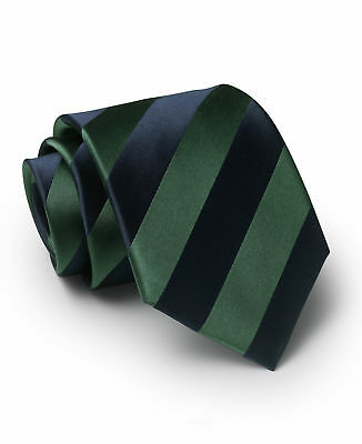 Savile Row Men's Navy Green Regimental Stripe Silk Tie