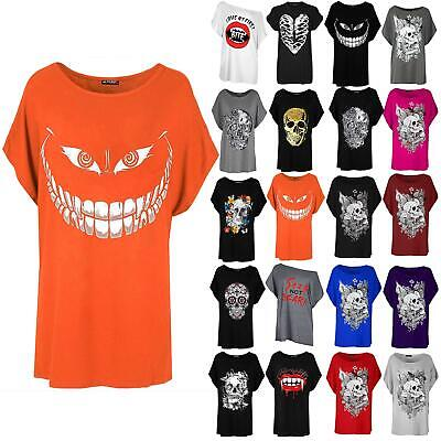 Womens Ladies Halloween Skull Teeth Scary Batwing Lagenlook Oversize T Shirt Top