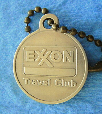 Vintage Key Fob Brass Tag: EXXON TRAVEL CLUB w/Key-Chain