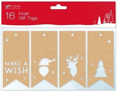 16 Kraft Die Cut Christmas Gift Tags Tie On Present Labels With String GT217