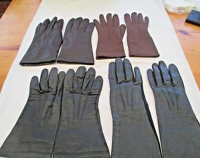 Collection Vintage Ladies Gloves- Mainly Leather - Some Dents Make. Size 7