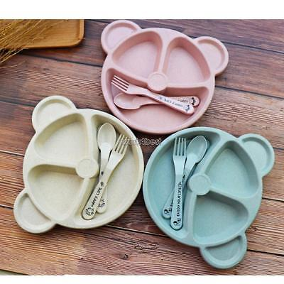 Cartoon Cute Wheat Straw Children Divided Toddler Plates Kids Tableware WST