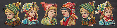 S6605 Victorian Die Cut Scraps: 6 Children with Objects as Hats