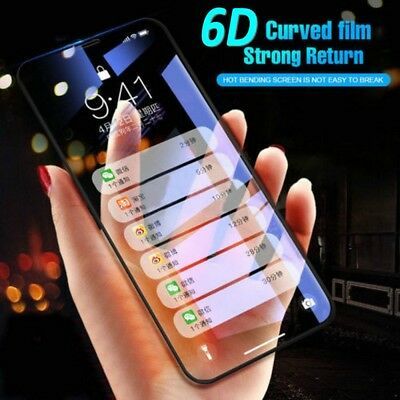 For iPhone XS Max XR X 6D Curved Screen Protector Full Cover Tempered Glass
