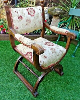 Beautiful Genuine Old Oak X-Frame Gothic Throne Chair With Sprung Upholstery