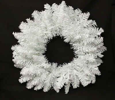 """Snow White Artificial Pine Christmas Wreath - 12"""" or 18"""" Xmas Hanging Decoration"""