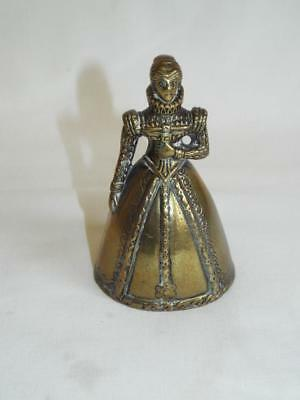 Vintage brass Elizabethan lady bell with legs clappers