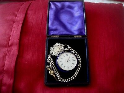 Boxed Solid Silver Hallmarked Pocket Watch + Albert Chain + Silver Fob + Key