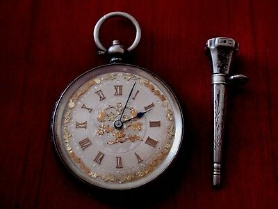 Stunning Solid Sterling Silver Hallmarked And Gold Pocketwatch With Jem Set Key