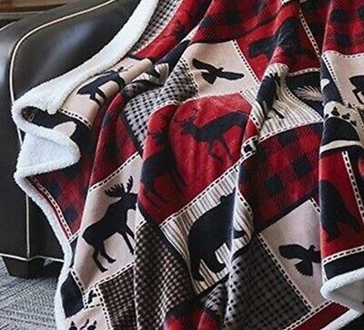 LODGE LIFE BEAR FLANNEL SHERPA 50x60 THROW : MOOSE BLACK RED BUFFALO BLANKET