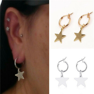 Fashion Women Round Circle Stud Hoop Earrings Punk Star Metal  Art Jewelry Z