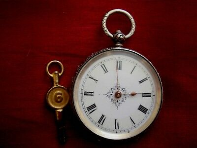 A Fine Stunning Solid Silver Hallmarked German Pocketwatch With  Key
