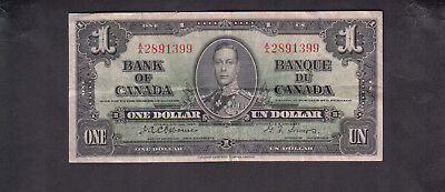 1937 Canada 1 Dollar Bank Note Osborne