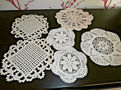 Six Vintage White/ivory  Cotton Hand Worked Crochet Lace Table Mats/doilies