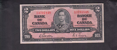 1937 Canada 2 Dollars Bank Note Gordon