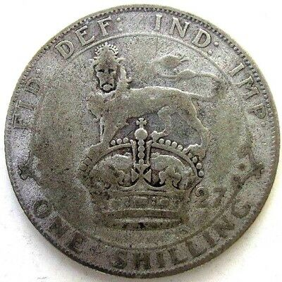 Great Britain Uk Coins, One Shilling 1927, George V, Silver 0.500