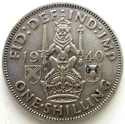 Great Britain Uk Coins, One Shilling 1940, Scottish, George Vi, Silver 0.500