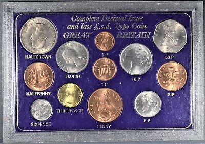 1967 Great Britain Complete Decimal Issue Sterling & Last Lsd 12 Coin Set,  Zt1