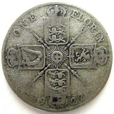 Great Britain Uk Coins, One Florin 1922, George V, Silver 0.500