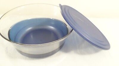 Unused Tupperware Sheerly Elegant Serving Acrylic Bowl 2.3L Clear / Blue
