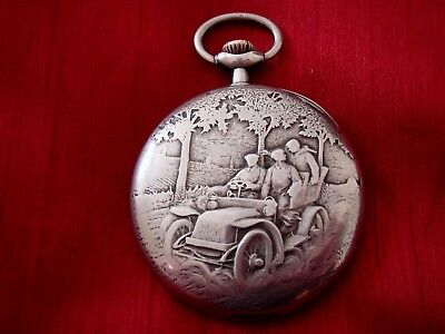 A Rare Early Solid Silver Omega Vintage Car Raceing Pocketwatch Top Winding