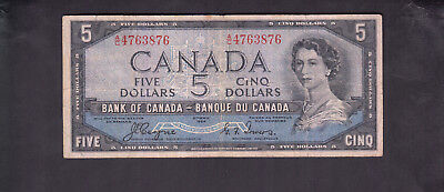 1954 Canada 5 Dollars Devil Face Bank Note Coyne / Towers