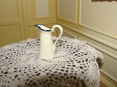 Dollhouse Miniature Cream Pewter Pitcher w Blue Trim  England