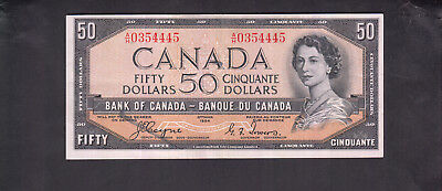 1954 Canada 50 Dollars Bank Note Devil Face Coyne / Towers