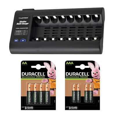 Lloytron 8 Bay Battery Charger + 4 Duracell AA & 4 AAA Rechargeable Batteries