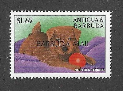 Dog Art Body Study Portrait Postage Stamp NORFOLK TERRIER Puppy Antigua MNH