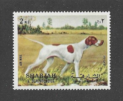 Dog Art Body Study Portrait Postage Stamp Pointing ENGLISH POINTER Sharjah MNH