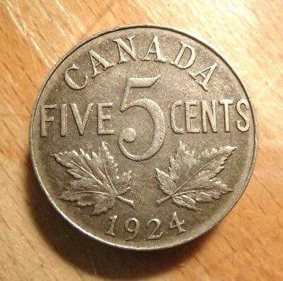1924 Canada 5 Cent Nickel Coin Nice Circulated Coin #1