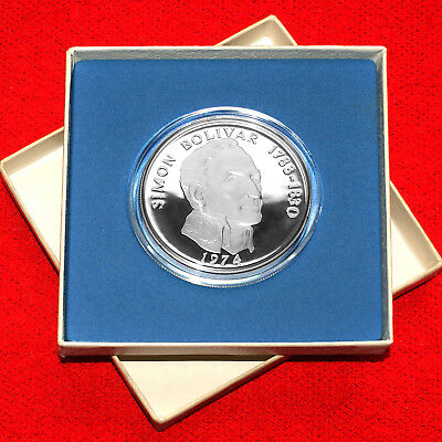 1974 Republic Of Panama .9250 Silver Proof 20 Balboas Coin Franklin Mint Issue