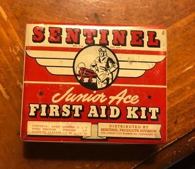 Vintage First Aid Kit. Small Metal Box, Sentinel Junior Ace with Supplies /Pilot