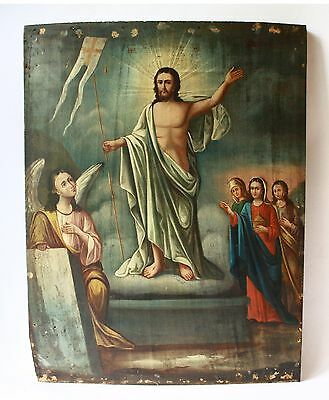 Antique 19th C Russian Wooden Icon (Large 44.5 cm) The Resurrection of Christ