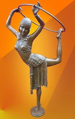 ART DECO BRONZE RING DANCER STATUE SIGNED Chiparus FIGURE HOT CAST FIGURINE