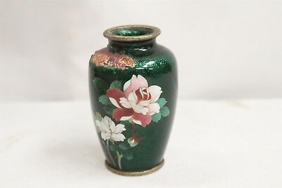 Japanese Cloisonne Sea Green Hand Painted Flowers Sato Signed Cabinet Vase