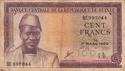 100 Francs Fine Banknote From  Guinea 1960!pick-13