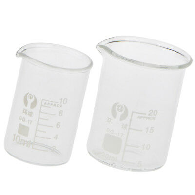 Glass Beaker for Laboratory Measuring Cup Glassware for Experiments 10/20ml