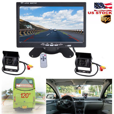 "7"" Monitor + 2X Back up Camera RV Truck Bus Van IR Rear View Night Vision System"