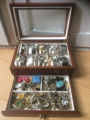 Huge JOB LOT OF MODERN &VINTAGE COSTUME JEWELLERY & Watches some silver, Cameos