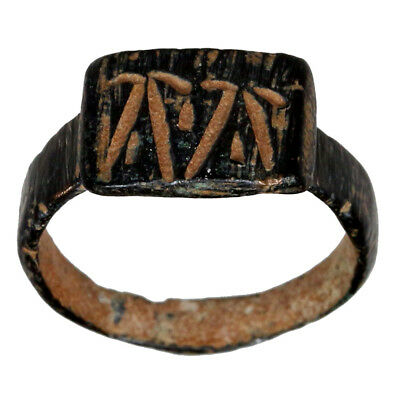 Intact Byzantine Bronze Seal Ring With Tow Monograms A Circa 500 Ad