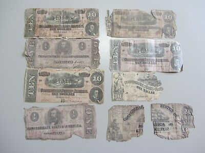 Lot Of 8 Confederate Notes 1864 All Have Issues $1 $10 $20
