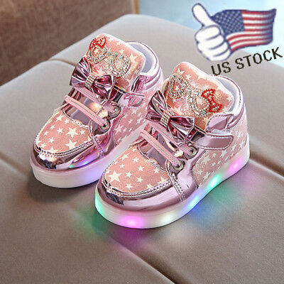 Toddler Baby Girl Shimmer Sneakers Star Luminous Child Casual LED Light Shoes US