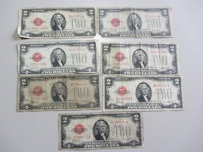 Lot Of 7 $2 Legal Tender Red Seals 1928 All Have Issues