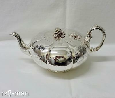 1863 SUPERB RARE VICTORIAN SOLID STERLING SILVER MELON SHAPE TEAPOT 545g/17.52oz