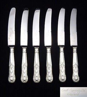 """6 Heavy Vintage Smith Seymour Dessert Knives 8.5"""" Silver Plated Kings Pattern"""