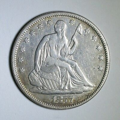 1877 50C Seated Liberty Half Dollar ~ Motto Above Eagle Variety