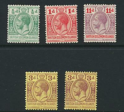 BRITISH SOLOMON IS 1913 SET(INC BOTH 3d) VF MLH SG#18-21 CAT£24 $32 (SEE BELOW)