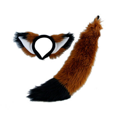 PAWSTAR Furry Fox Ears & Tail Set - Costume plush Brown Rust Black [RU/BK]4007